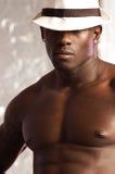 Zwarte mannelijke portrethoed Stock Afbeeldingen