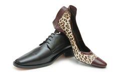 Zwarte mannelijke schoen en vrouwelijke sho Royalty-vrije Stock Foto