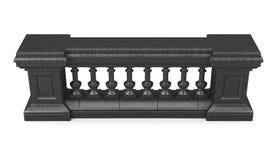 Zwarte marmeren geïsoleerde balustrade het 3d teruggeven Stock Foto
