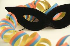 Zwarte masker en wimpel Royalty-vrije Stock Fotografie