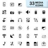 33 zwarte media pictogrammen Royalty-vrije Stock Foto's