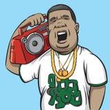 Zwarte mens met boombox op schouder Royalty-vrije Stock Foto