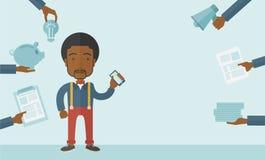 Zwarte mens met in hand smartphone Royalty-vrije Stock Afbeeldingen