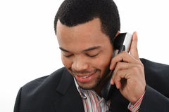 Zwarte mens met mobiel Royalty-vrije Stock Afbeelding