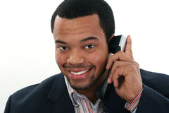 Zwarte mens met mobiel stock foto