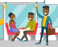 Zwarte mensen die door openbaar vervoer reizen stock illustratie