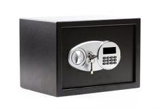 Zwarte metaal veilige doos met numeriek toetsenbord gesloten systeem en sleutels royalty-vrije stock foto's