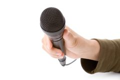 Zwarte Microfoon Stock Afbeelding