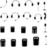 Zwarte microfoon, hoofdtelefoon, zaktelefoon - vastgestelde pictogrammen Stock Foto