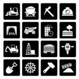Zwarte Mijnbouw en mijnbouw pictogrammen Royalty-vrije Stock Foto