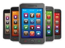 Zwarte mobiele slimme telefoons Royalty-vrije Stock Afbeeldingen