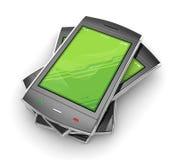 Zwarte mobiele smartphone op wit. Royalty-vrije Stock Afbeeldingen