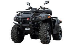Zwarte moderne die ATV, op witte achtergrond wordt geïsoleerd Royalty-vrije Stock Foto's