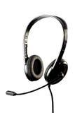 Zwarte modieuze hoofdtelefoon met microfoon royalty-vrije stock foto