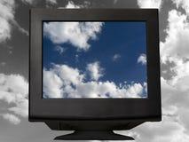 Zwarte monitor stock afbeelding