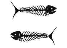 Zwarte monocrhomatic fishbone op een witte achtergrond Royalty-vrije Stock Foto's