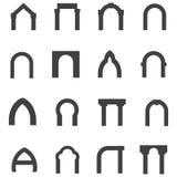 Zwarte monolietpictogrammen voor overwelfde galerij Royalty-vrije Stock Afbeelding