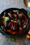 Zwarte mosselen in rode tomaat-wijn saus Royalty-vrije Stock Foto