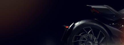 Zwarte motorfiets in de studio Stock Afbeeldingen
