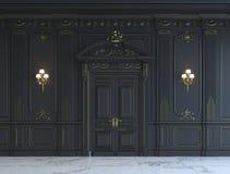 Zwarte muurpanelen in klassieke stijl met het vergulden het 3d teruggeven Stock Foto's