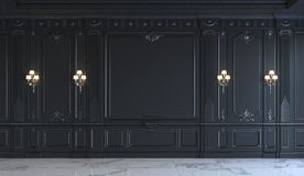 Zwarte muurpanelen in klassieke stijl met het verzilveren het 3d teruggeven Stock Afbeeldingen