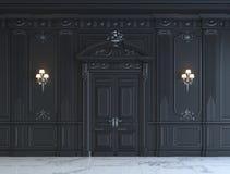 Zwarte muurpanelen in klassieke stijl met het verzilveren het 3d teruggeven Stock Foto