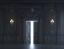 Zwarte muurpanelen in klassieke stijl met het verzilveren het 3d teruggeven Stock Afbeelding