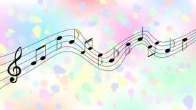 Zwarte Muzieknota's op Kleurrijke Spatten en Plonsenachtergrond royalty-vrije illustratie