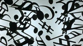 Zwarte muzikale tekens op een witte achtergrond Stock Foto's