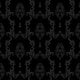 Zwarte Naadloze uitstekende achtergrond Barok bloemenpatroon royalty-vrije illustratie
