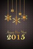 Zwarte nieuwe jaar 2015 achtergrond met gouden sneeuwvlokornamenten Royalty-vrije Stock Fotografie