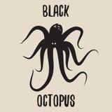 Zwarte Octopus Hand getrokken illustratie Stock Afbeelding