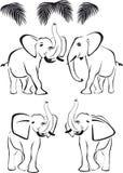 Zwarte olifant, boomstam op en neer, wilde dieren Royalty-vrije Stock Afbeeldingen