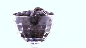 Zwarte olijven in de kom stock video