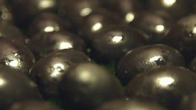 Zwarte olijven op een groene achtergrond 2 schoten stock footage