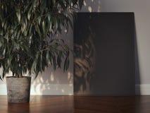 Zwarte omlijsting in een modern binnenland het 3d teruggeven Royalty-vrije Stock Foto