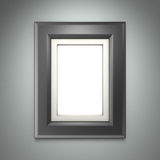 Zwarte omlijsting op grijze muur Stock Foto's
