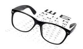 De glazen van de lezing op ooggrafiek Stock Afbeeldingen