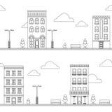 Zwarte op wit cityscape van de beeldverhaalstraat naadloos patroon royalty-vrije illustratie