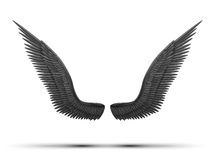 Zwarte open engelenvleugels Stock Foto