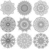 Zwarte ornamentinzameling over witte achtergrond Vector Illustratie
