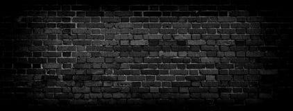 Zwarte Oude bakstenen muur panoramische achtergrond in hoge resolutie Royalty-vrije Stock Foto's