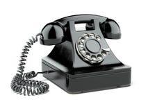 Zwarte oude telefoon stock illustratie
