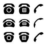 Zwarte oude telefoon en ontvangerspictogrammen Royalty-vrije Stock Afbeeldingen