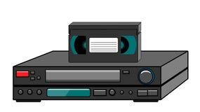 Zwarte oude uitstekende retro uitstekende hipster uitstekende videorecorder met videocassette die zich op een video voor het lett royalty-vrije illustratie