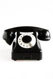 Zwarte ouderwetse telefoon Stock Foto