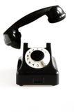 Zwarte ouderwetse telefoon Stock Afbeelding