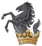 Zwarte paard en kroon Royalty-vrije Stock Afbeeldingen