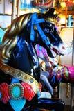 Zwarte paardcarrousel Royalty-vrije Stock Afbeeldingen