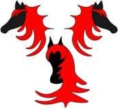 Zwarte paarden met rood haarembleem royalty-vrije illustratie
